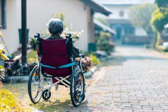 Elderly in a wheelchair